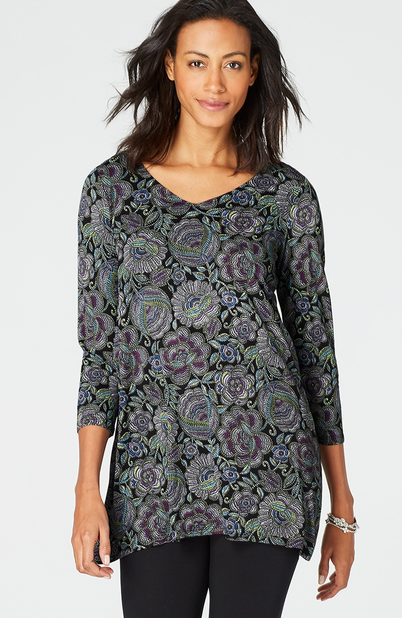 V-neck dipped-hem knit tunic