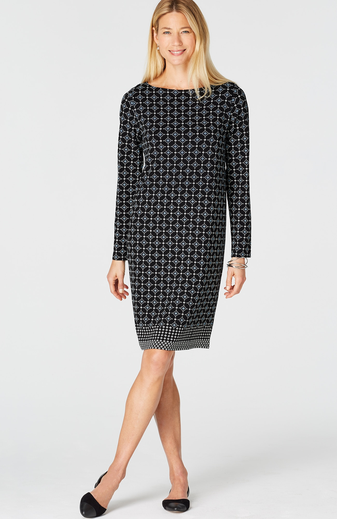 Wearever diamond-print boat-neck dress
