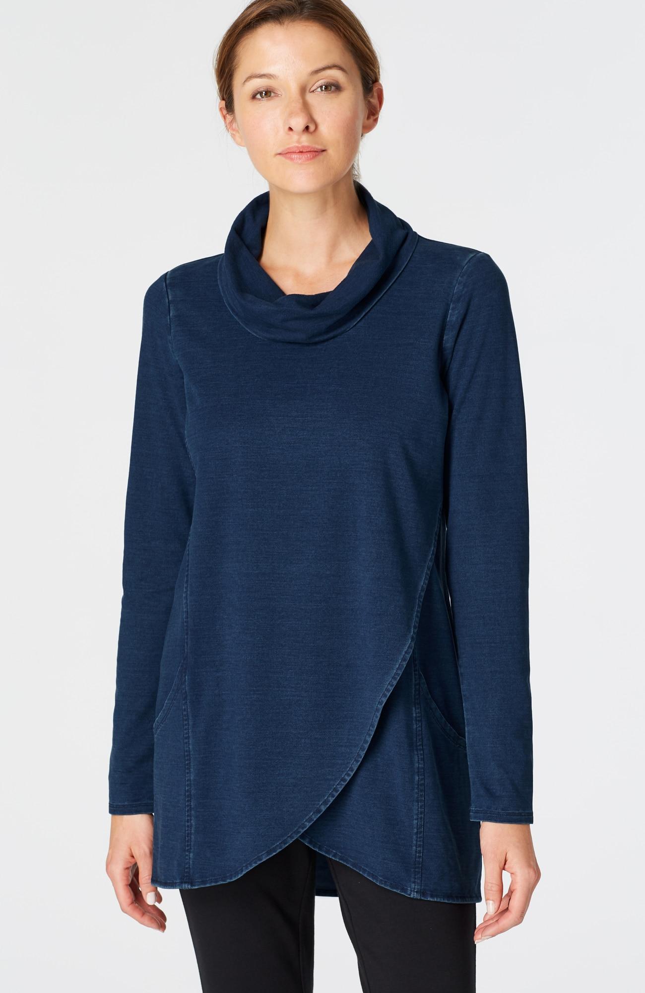 Pure Jill indigo knit wrap-style top