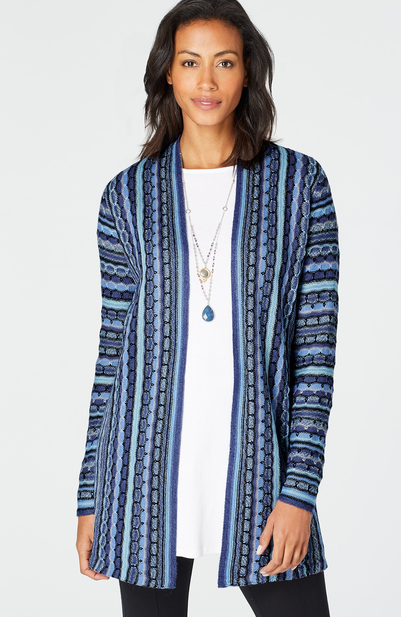 textured-stripes cardigan