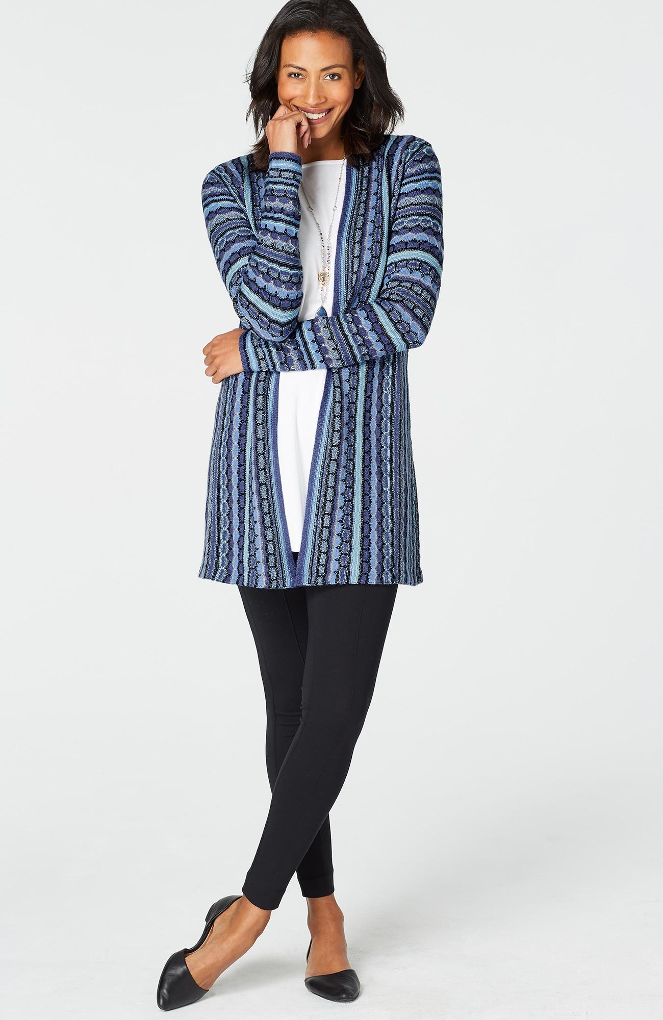 textured-stripes cardigan