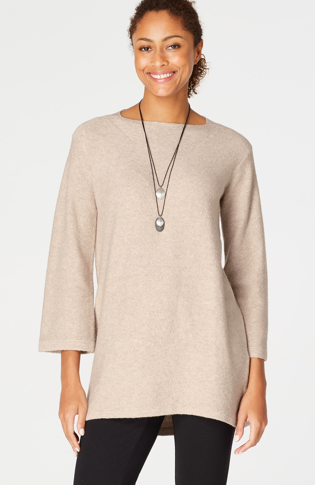Pure Jill textured bell-sleeve sweater tunic