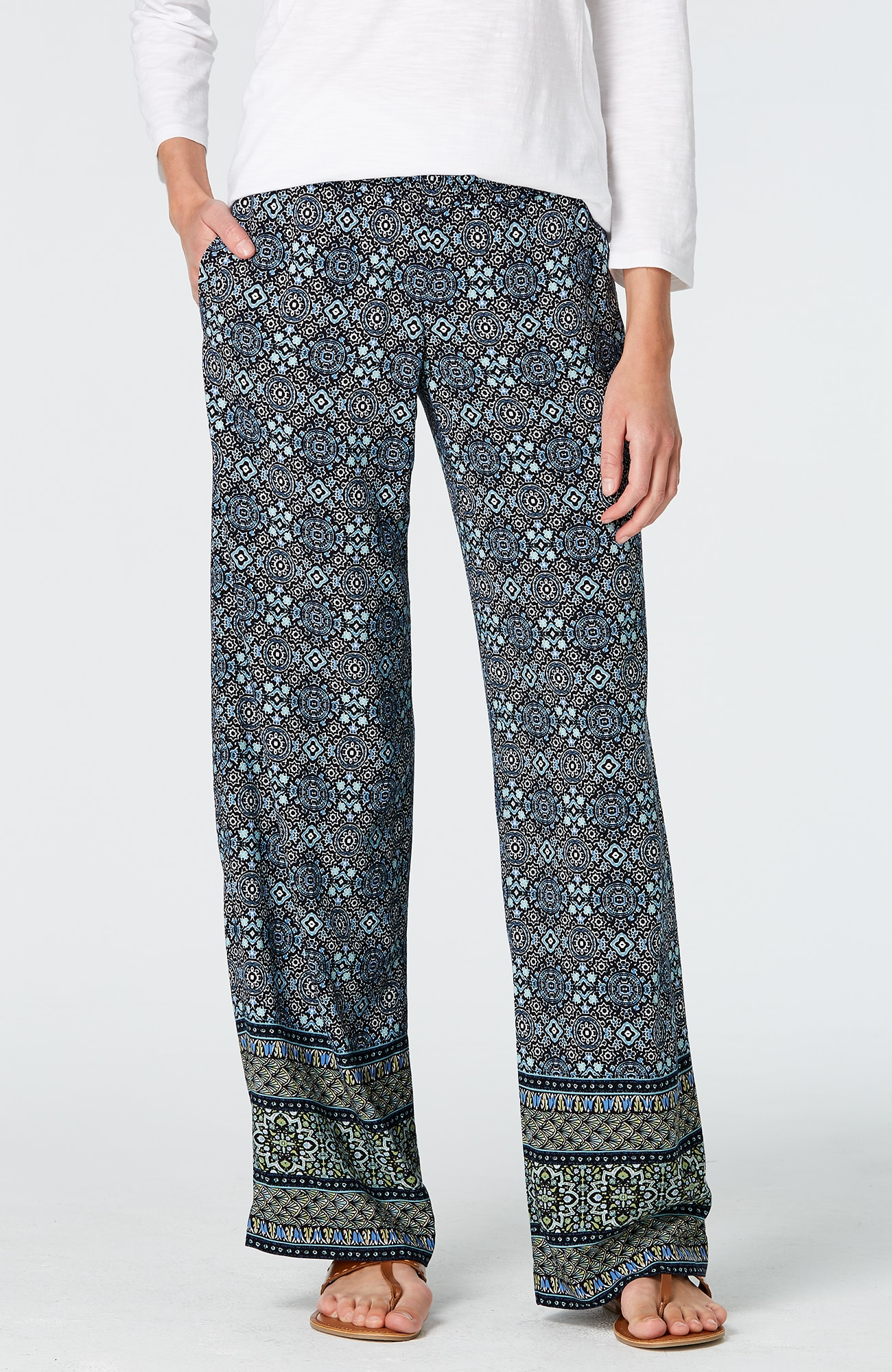 smocked-waist full-leg pants