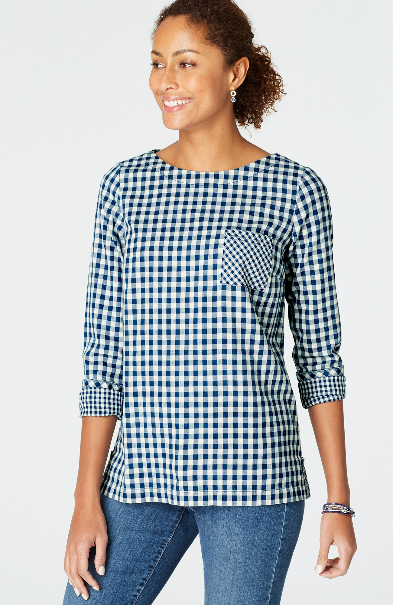 indigo buttoned-back top