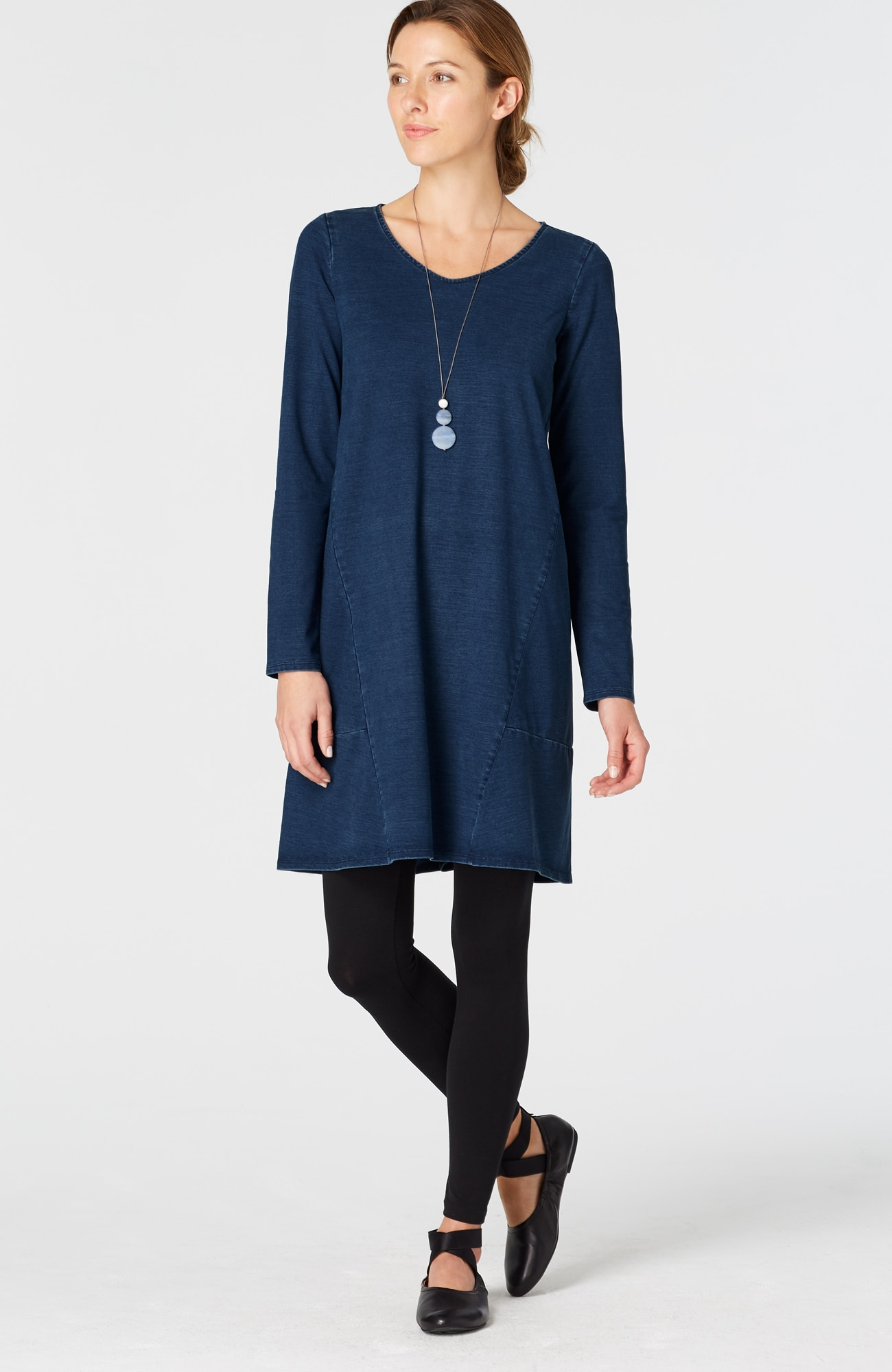 Pure Jill indigo knit seamed dress