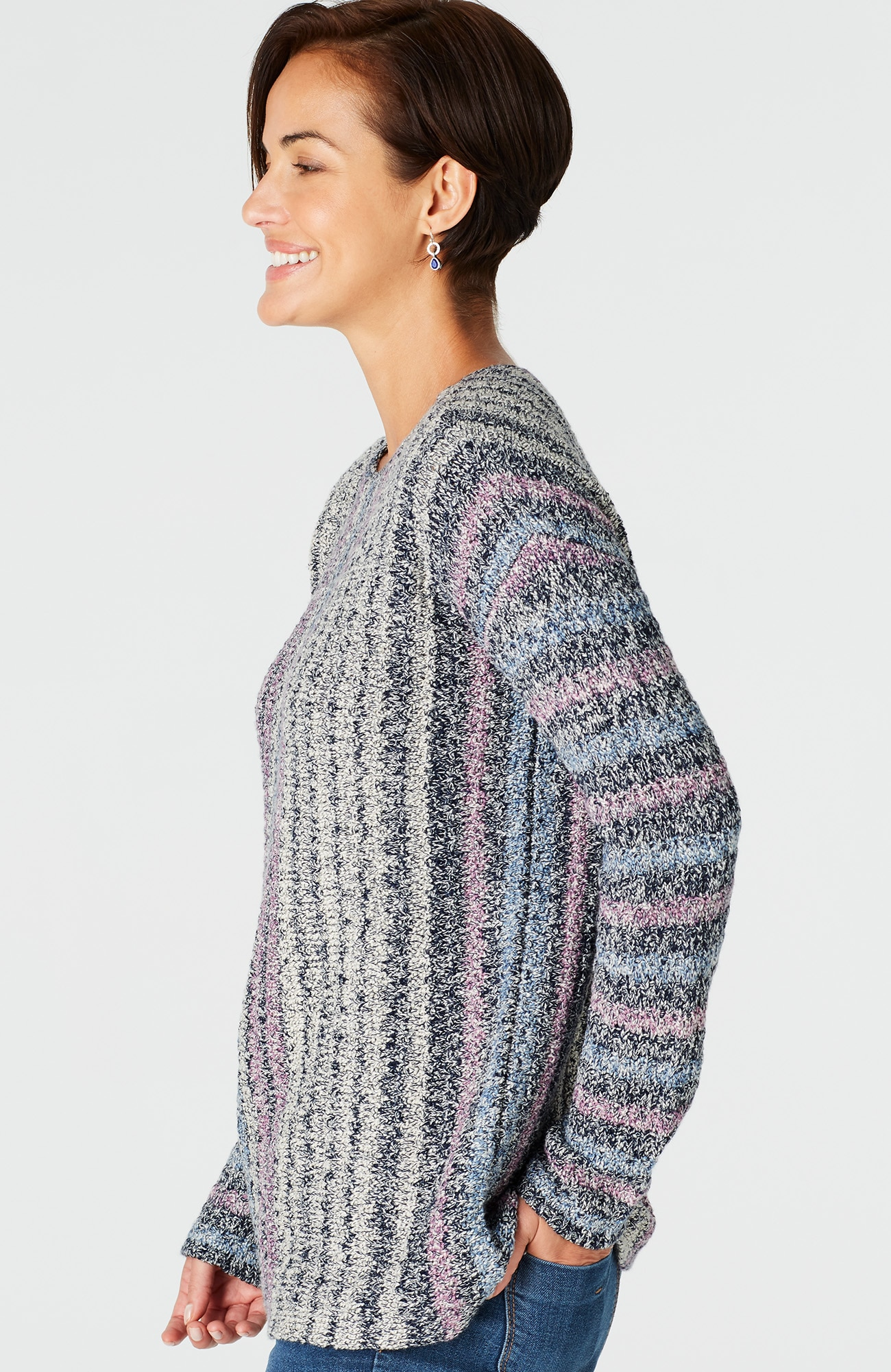 striped marled pullover
