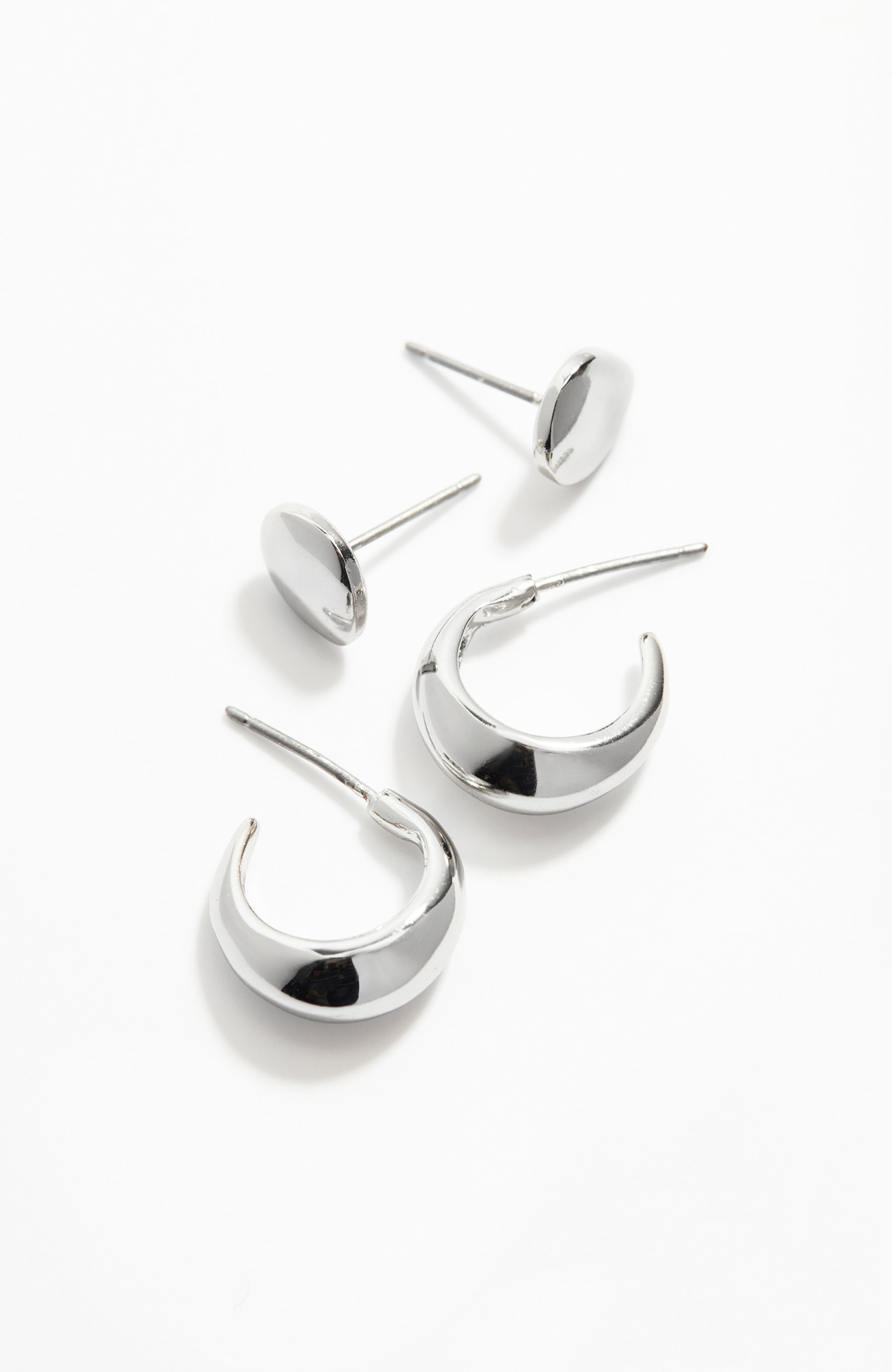 sculpted hoop & stud earrings 2-pair set