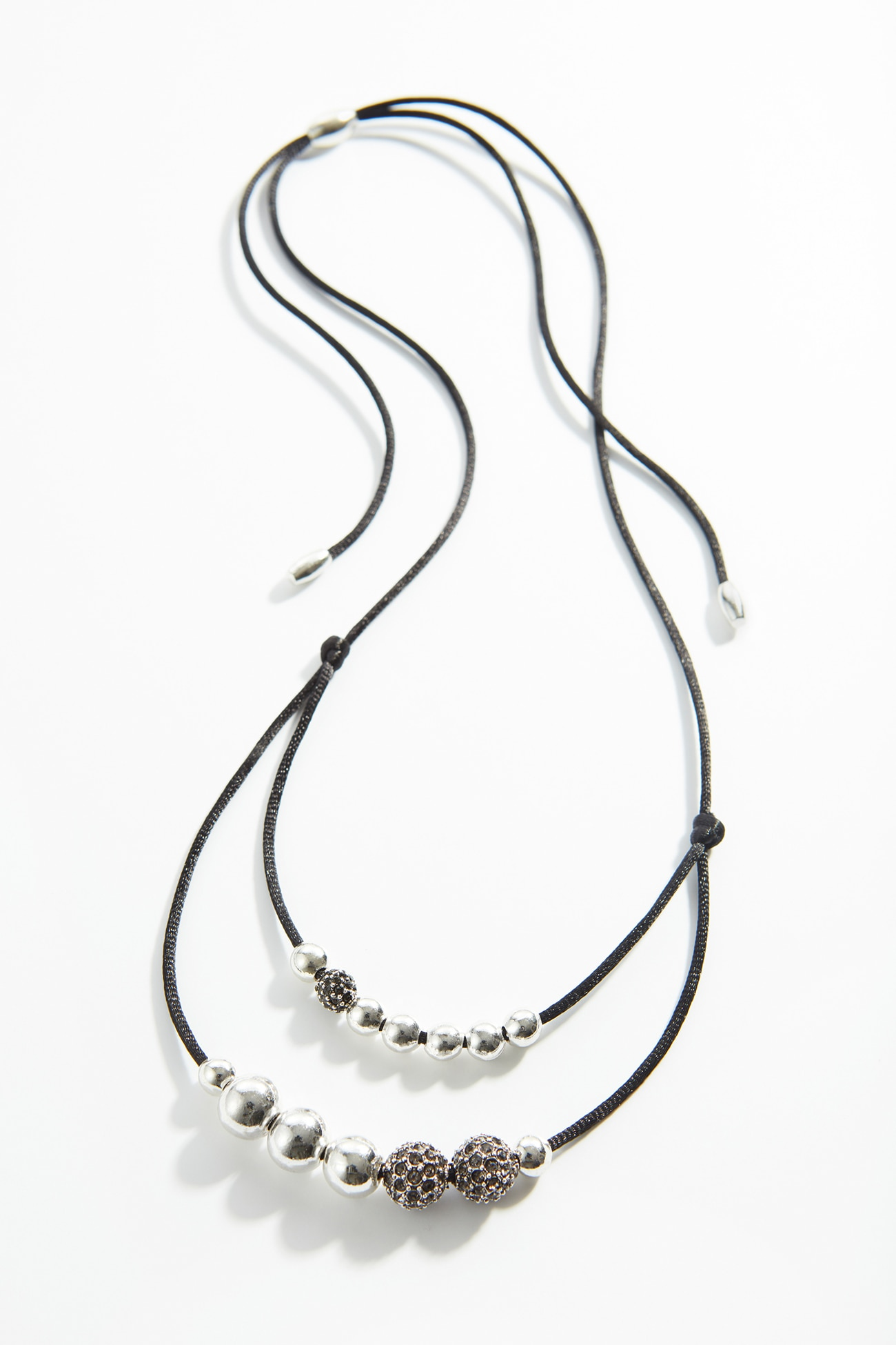 sculpted-metal beads & pavé double-strand necklace