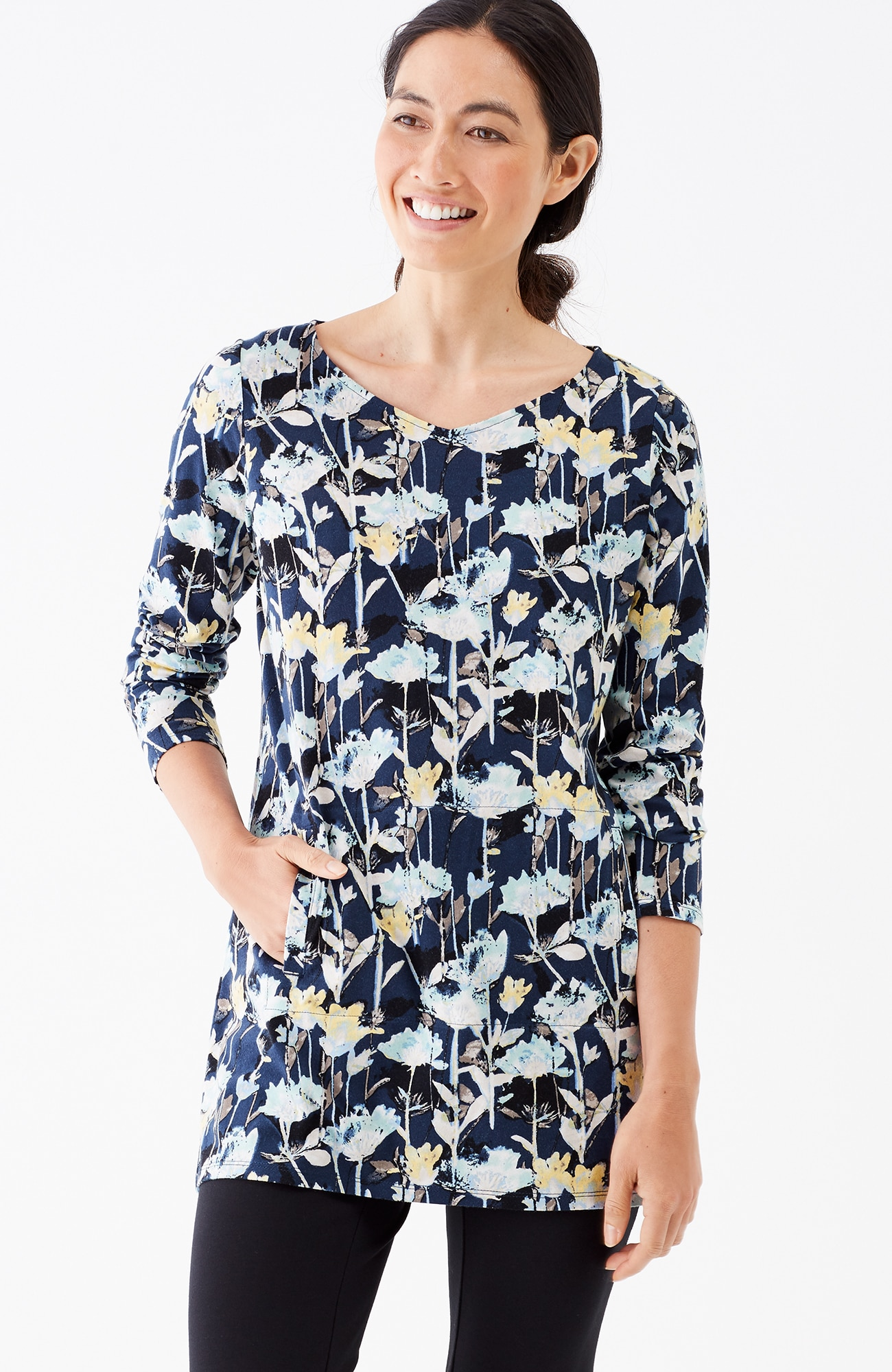 Pure Jill dipped-hem knit tunic
