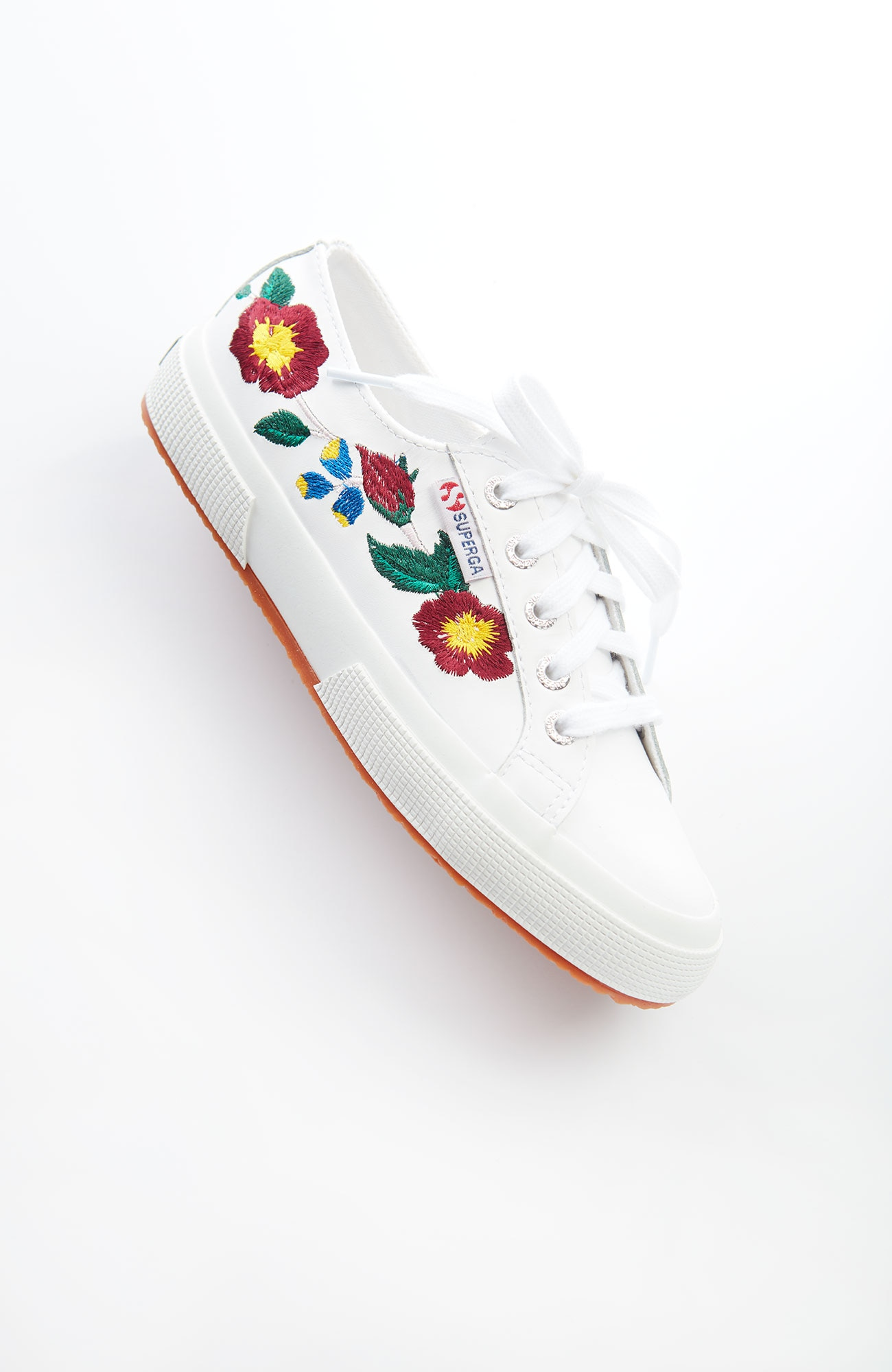 Superga® embroidered leather sneakers