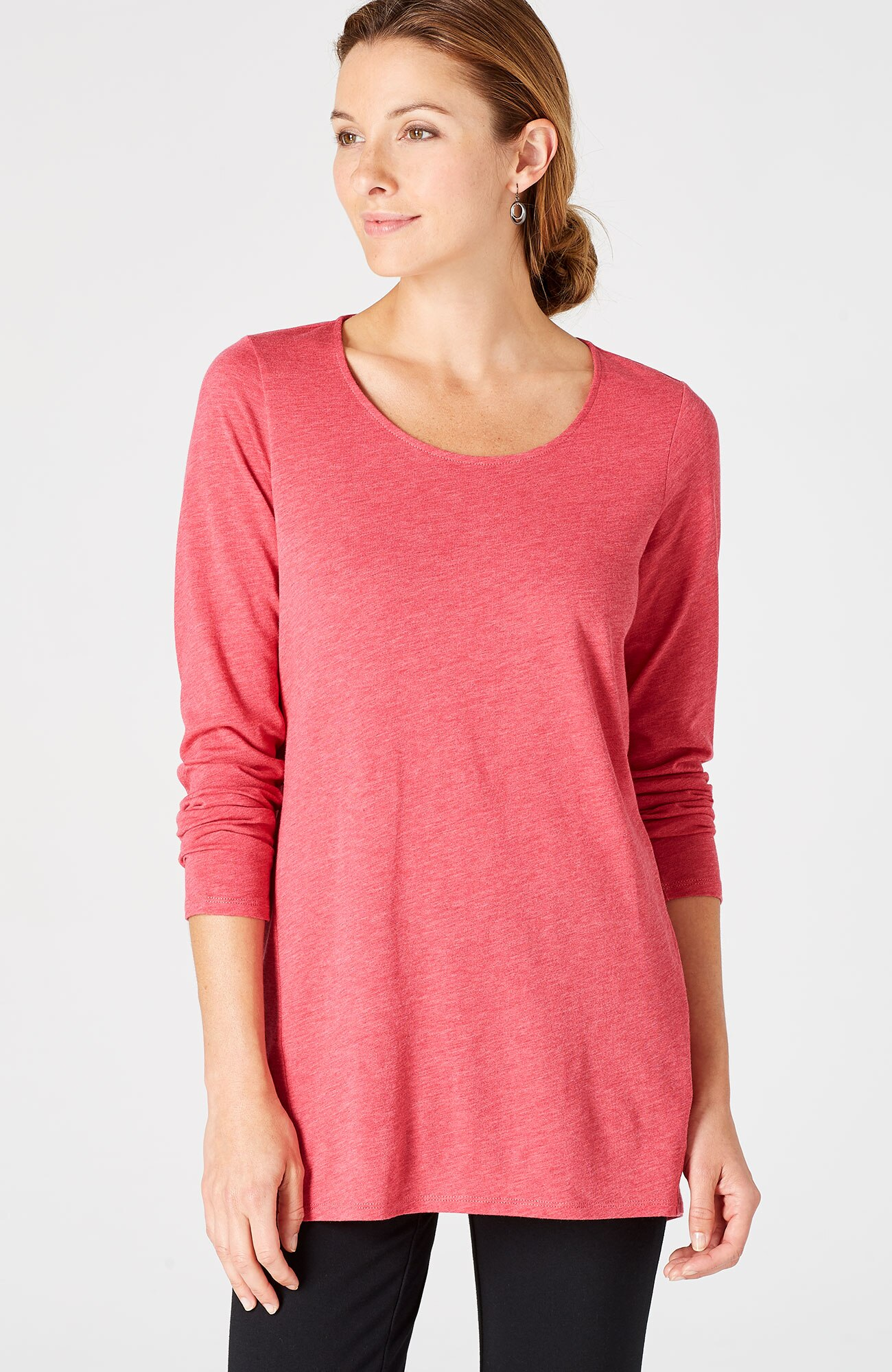 Pure Jill scoop-neck dipped-hem top