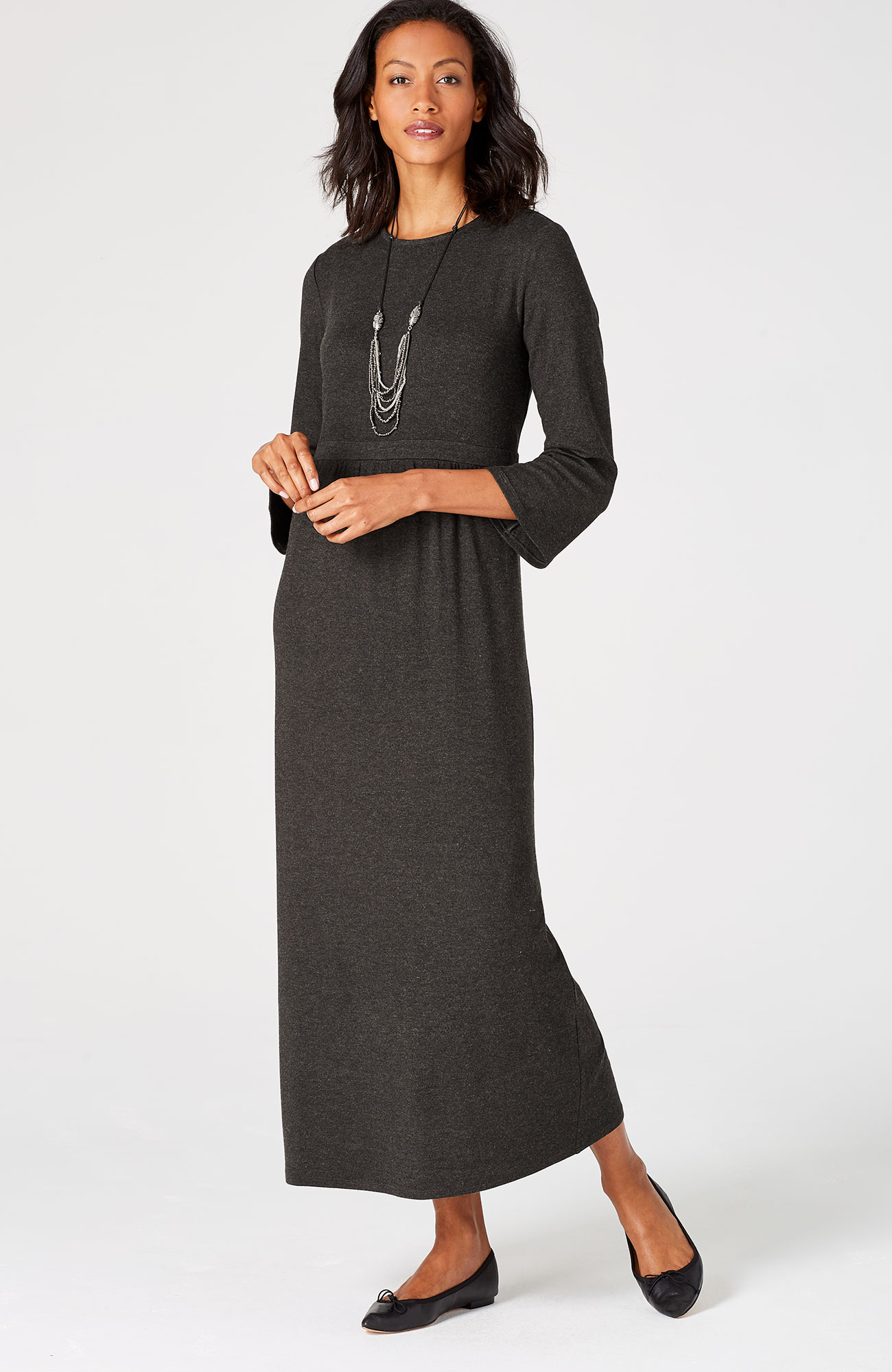 bell-sleeve knit maxi dress