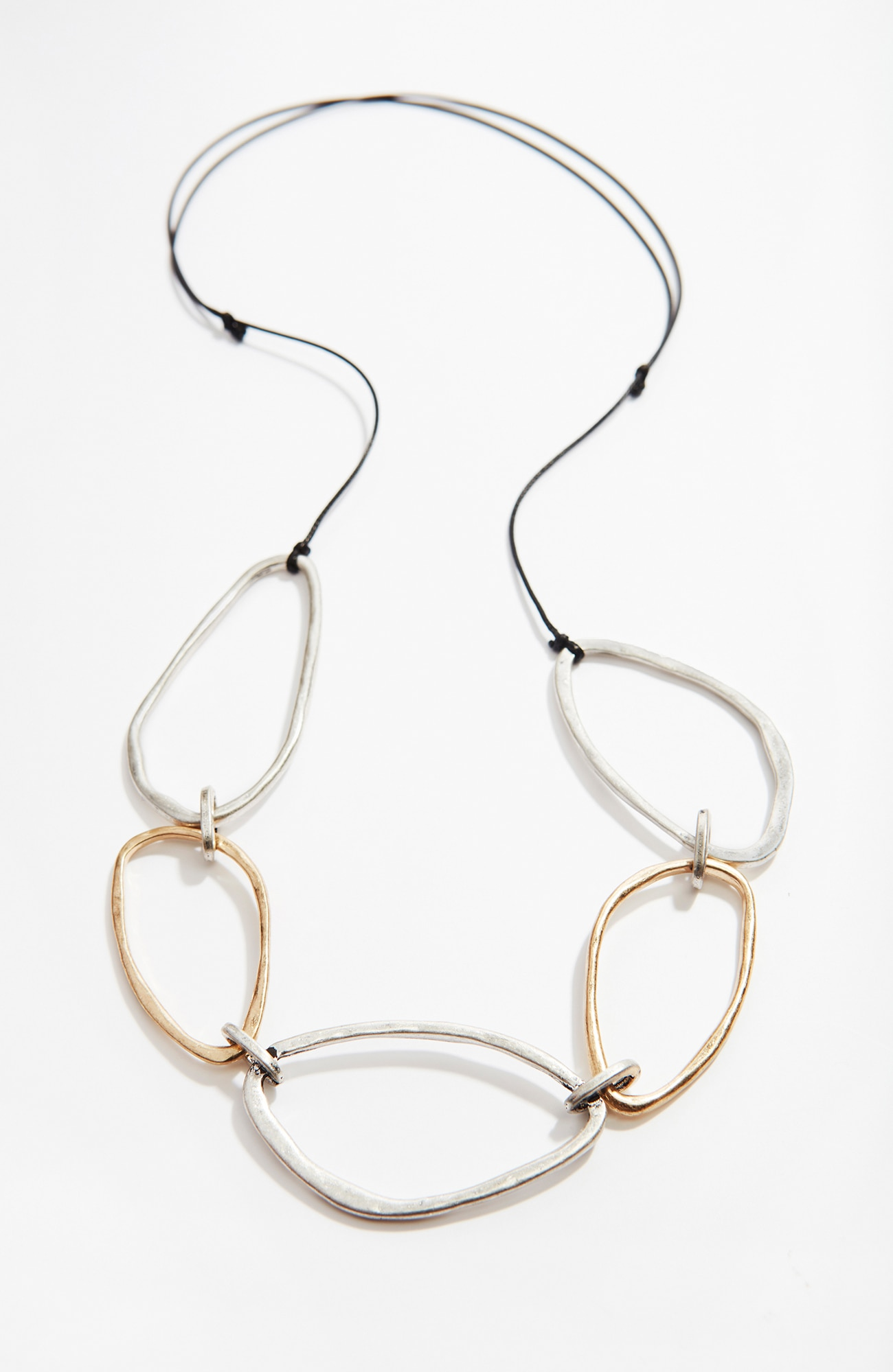 hammered mixed-metal links necklace