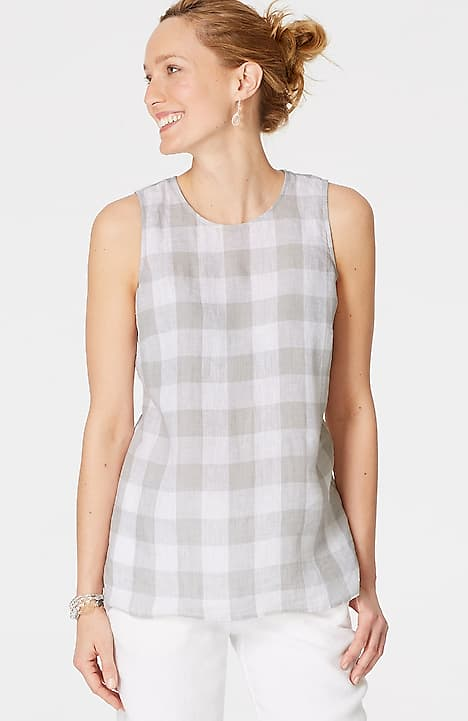 Image for Linen Buttoned-Back Sleeveless Top                                                                                               from JJill