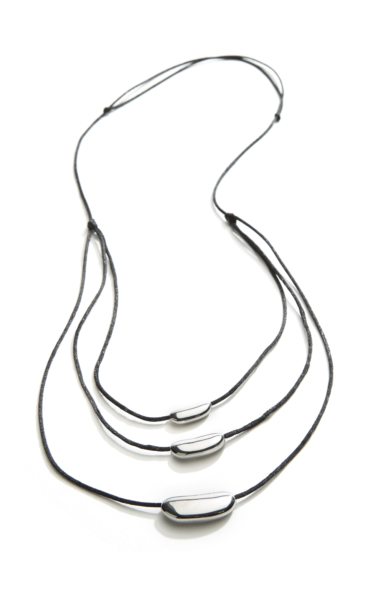 sculpted-bars triple-drop necklace