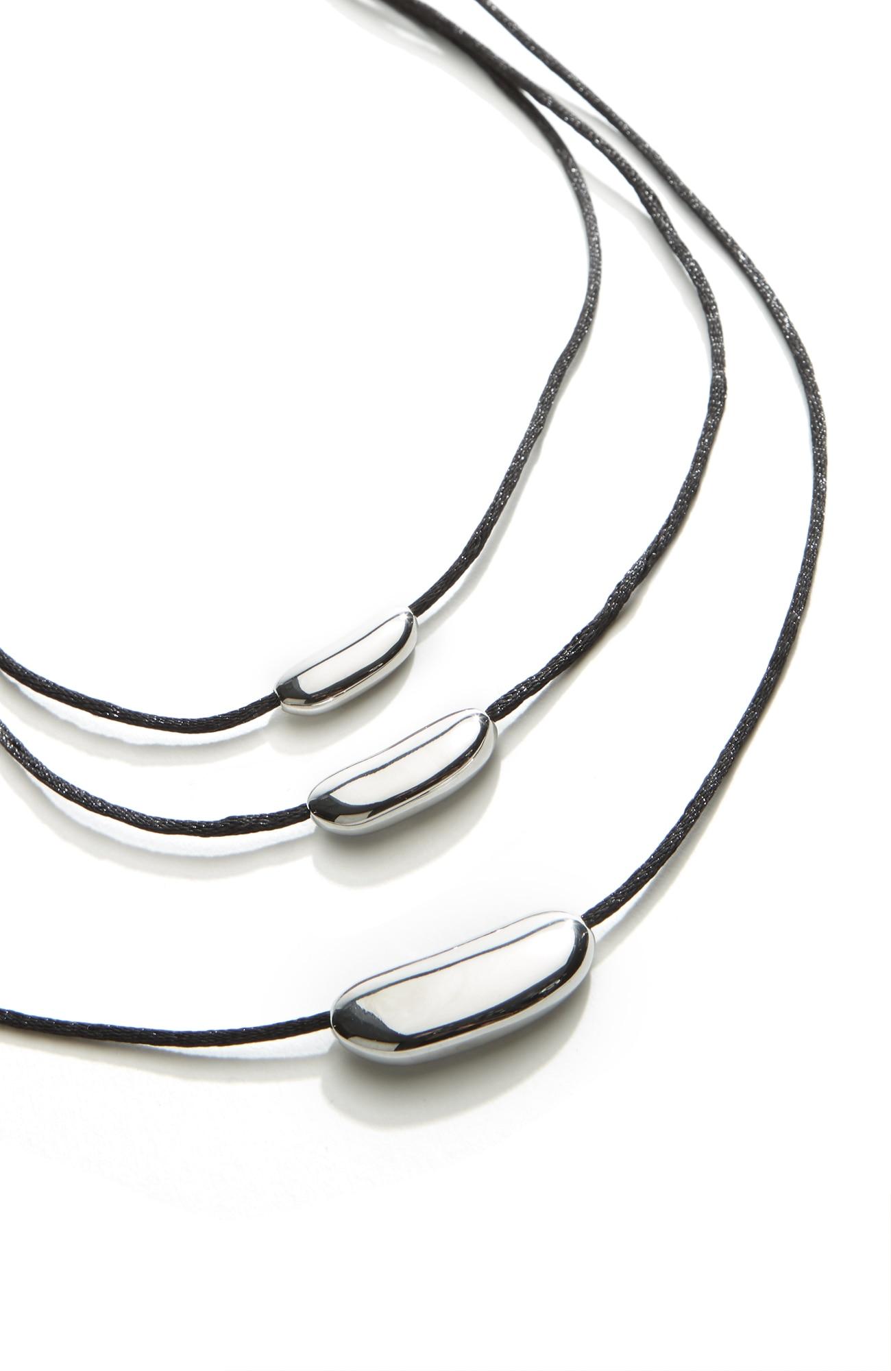 sculpted-bars triple-drop necklace