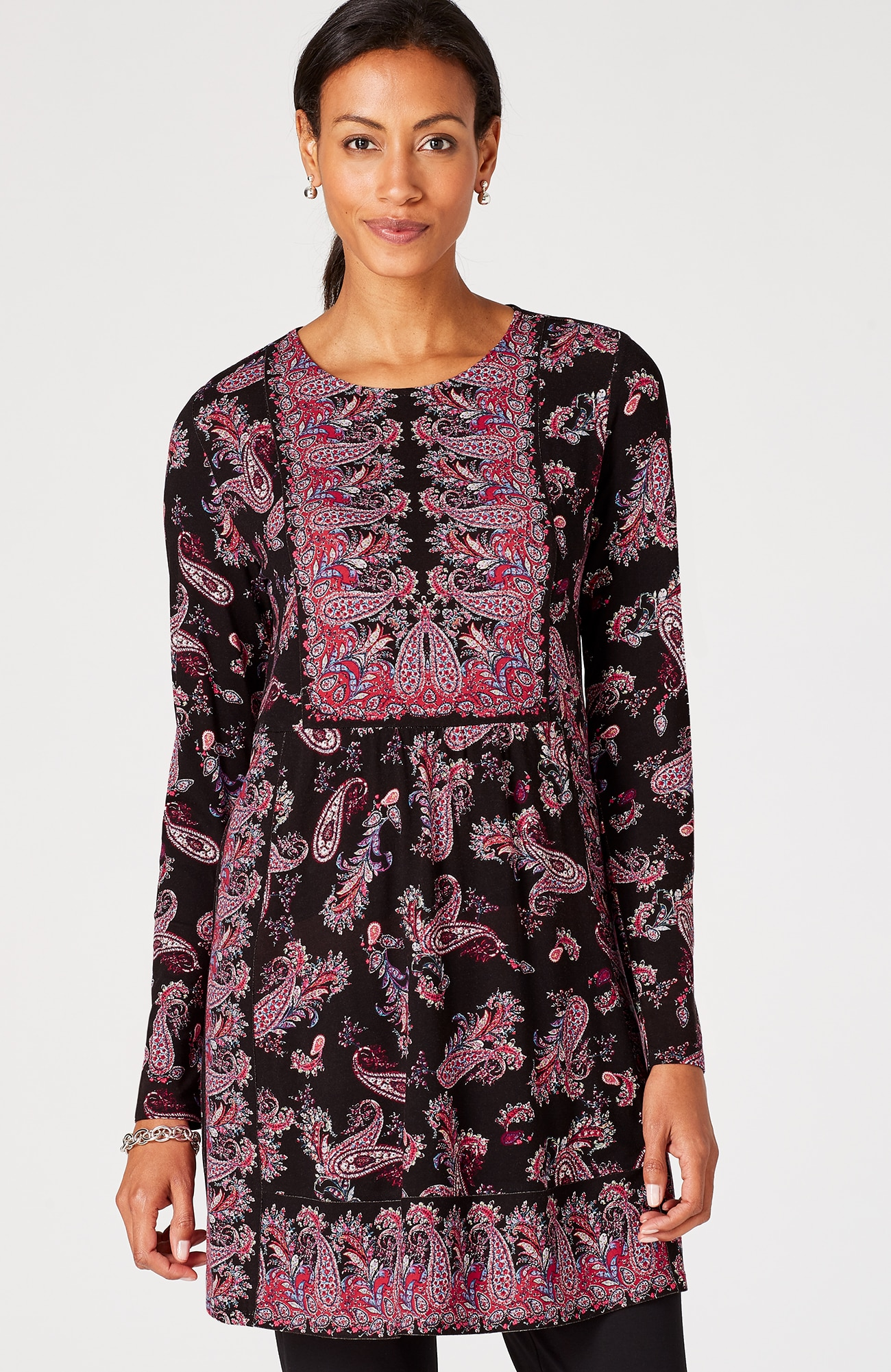 Wearever shirred-waist paisley tunic