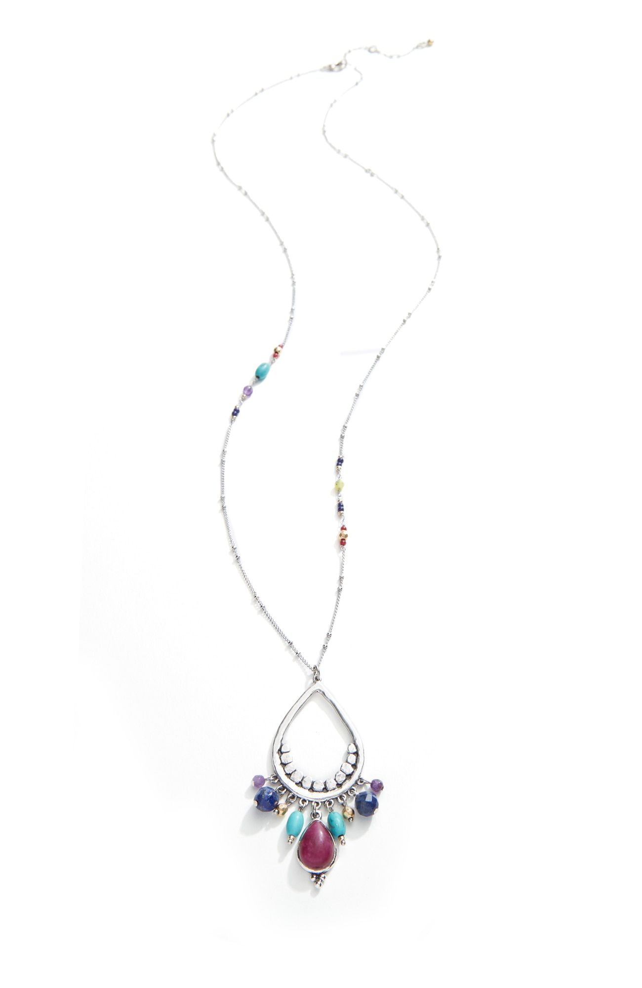 vivid color beaded pendant necklace