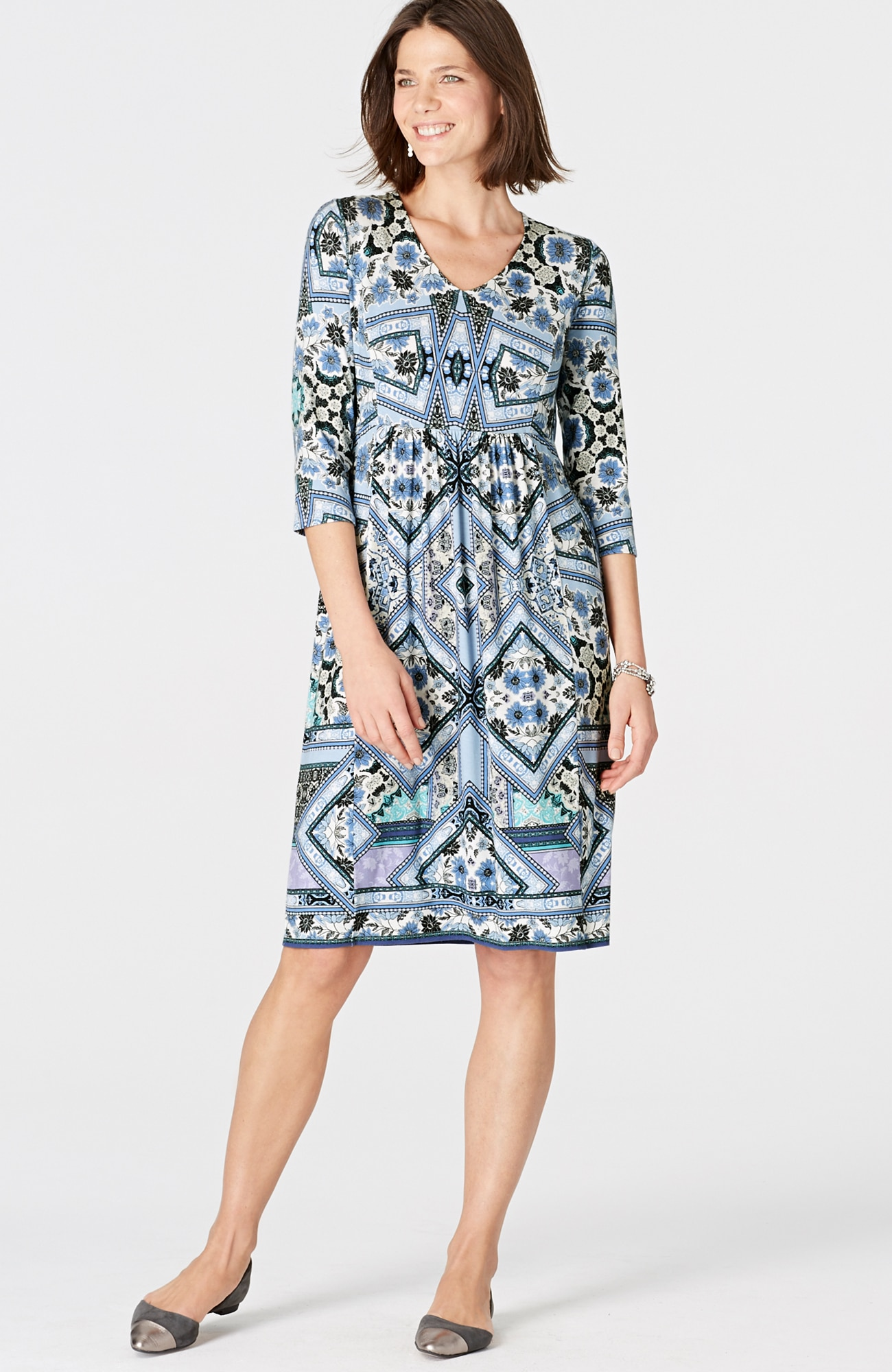 patchwork-print knit V-neck dress