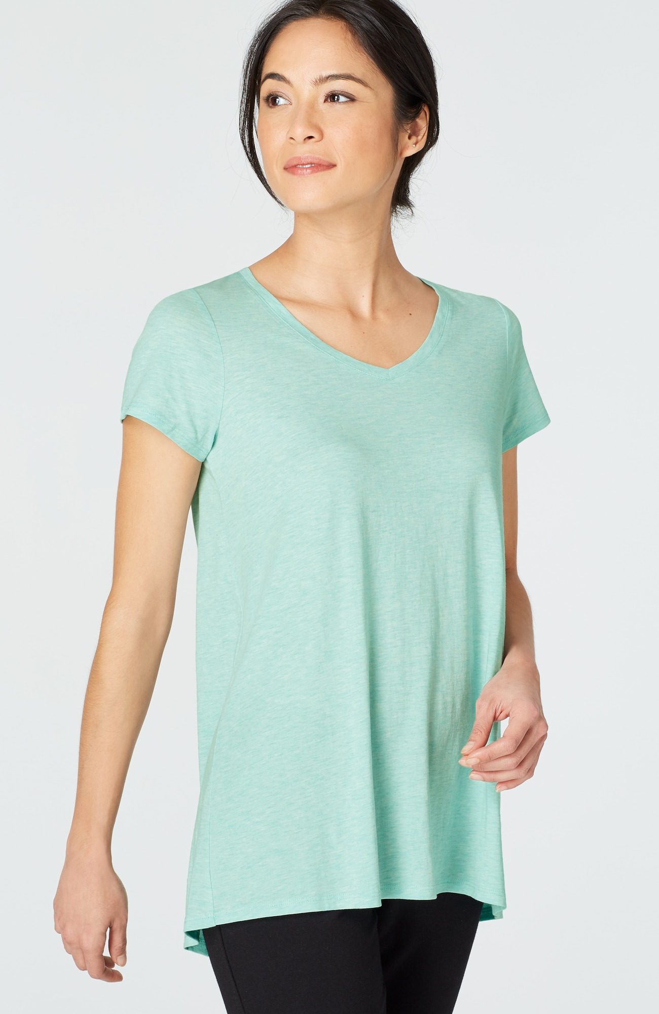 Pure Jill shirred-back elliptical tee