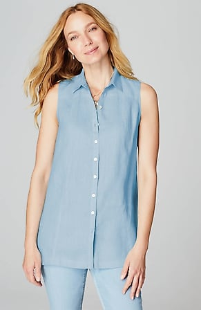 Image for Linen A-Line Sleeveless Tunic