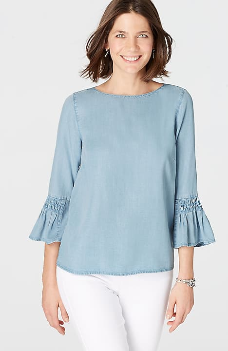 Image for Tencel® Indigo Bell-Sleeve Top                                                                                                  from JJill