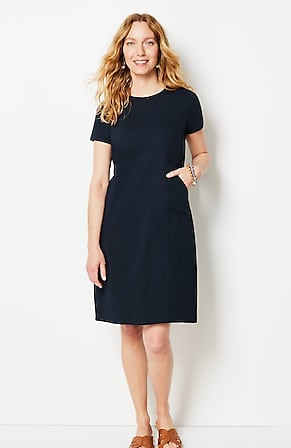 Image for Seamed Crew-Neck Knit Dress