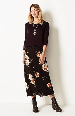 Product Image for Printed A-Line Knit Maxi Skirt