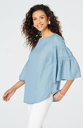 05f4f5509093a9 Product Image Quick Look for Tencel® Indigo Ruffle-Sleeve Top