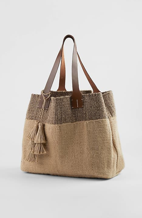 981ae91cc1 alternate image 1 of Border-Stripes Jute Tote Bag ...