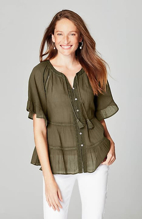 c064f00be39 Tiered Ruffle-Sleeve Peasant Top | JJill