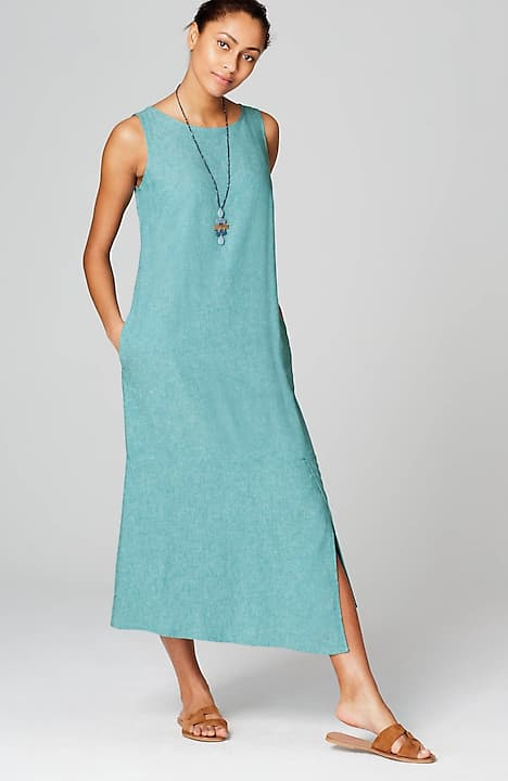 pure jill linen & rayon asymmetric dress