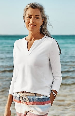 Image for French Terry Split-Neck Top