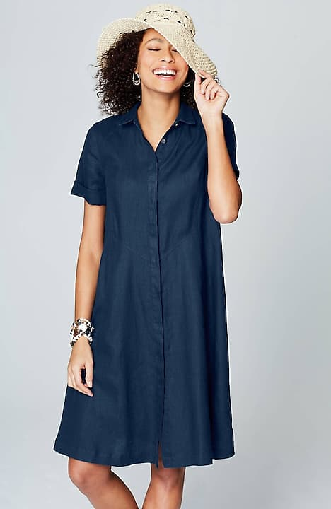Image for Linen Button-Front Shirtdress                                                                                                    from JJill