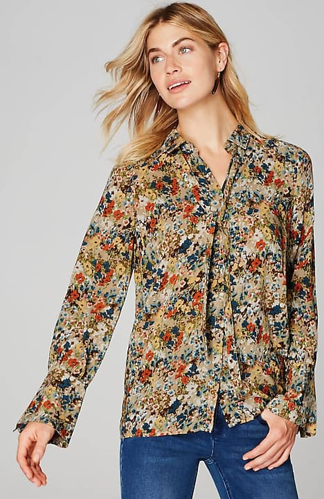 floral blouse with removable tie