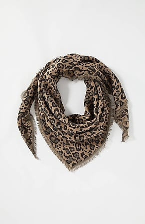Image for Leopard Jacquard Triangle Scarf