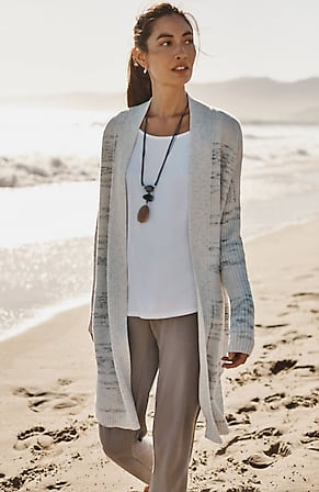 Image for Pure Jill Marled-Stripes Textured Cardi