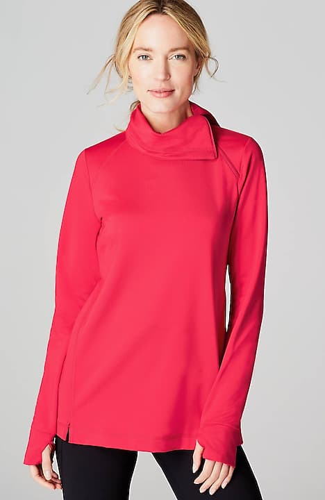 fit asymmetric zip-neck top