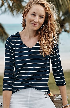 Image for Pima 3/4-Sleeve V-Neck Top