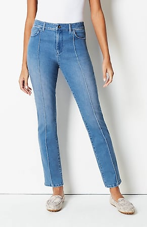 Image for High-Rise Pintucked Slim-Leg Jeans