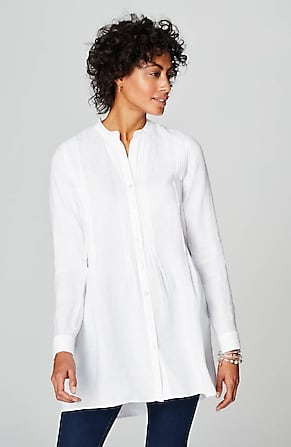 Image for Linen Pintucked Tab-Sleeve Tunic