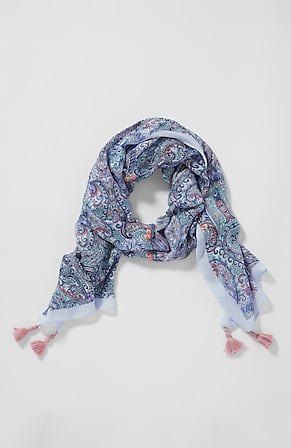 Image for Bahamian Beauty Tasseled Paisley Scarf
