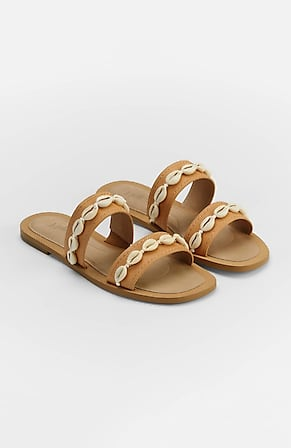 Image for Soleil Shell-Trimmed Leather Sandals