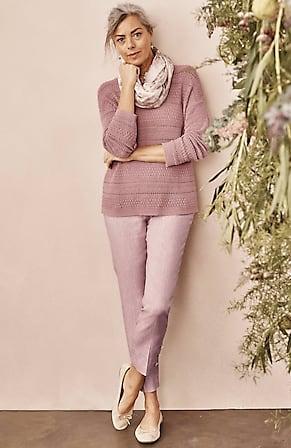 Image for Linen-Stretch Button-Hem Ankle Pants
