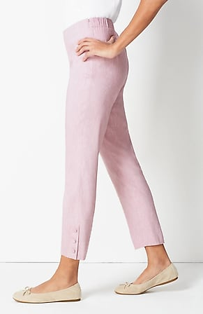 Side Image for Linen-Stretch Button-Hem Ankle Pants