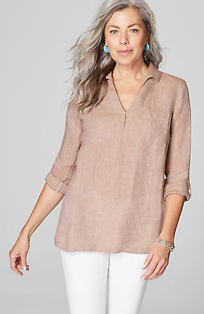 Image for Linen Tab-Sleeve Pullover Shirt
