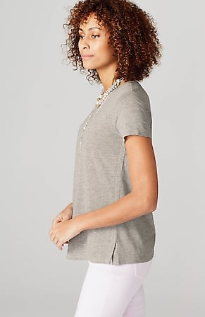 Side Image for Adrienne Linen & Rayon Crew-Neck Tee