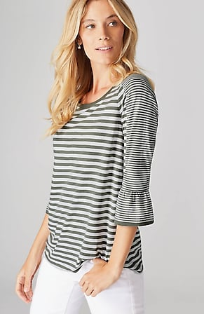 Image for Mixed-Stripes Flounced-Sleeve Knit Top