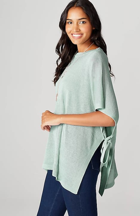 linen & rayon side-tie poncho