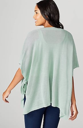 Back Image for Linen & Rayon Side-Tie Poncho